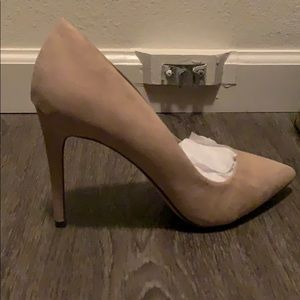 Shoes - Brand New! Nude suede heels